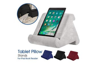 Tablet Pillow Stands For iPad Book Reader Cushion Holder Rest Laps Reading (Gray)