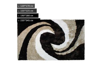OliandOla Plush Tufted Shag Rug -Beige Brown White(170 x 120 cm)