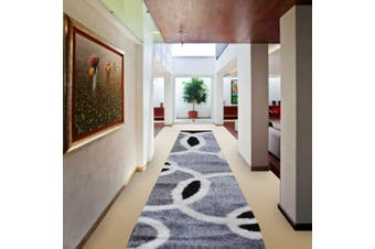 OliandOla Soft Shag Shaggy Rug Hallway Runner in Circle Pattern