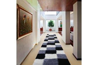 OliandOla Soft Shag Shaggy Rug Hallway Runner in Cube Pattern(80 x 500 cm)