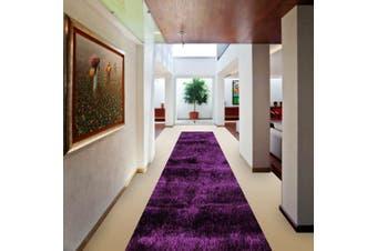 OliandOla Soft Shag Shaggy Rug Hallway Runner in Purple(80 x 500 cm)