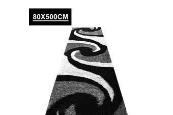 OLiandOla Soft Hallway Runner Shaggy Rug in Black White Grey Pattern(80 x 500 cm)