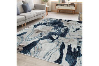 OliandOla Sea Blue Cream Art Vita Vintage Style Floor Area Traditional Soft Rug Carpet(230cm x 160cm)