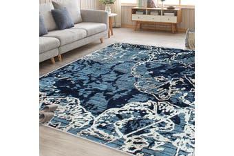 OliandOla Sea Blue Art Vita Vintage-Style Floor Area Traditional Soft Rug Carpet
