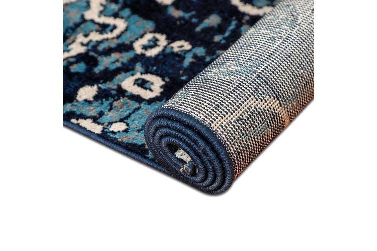 OliandOla Sea Blue Art Vita Vintage-Style Floor Area Traditional Soft Rug Carpet(90cm x 60cm, Door Mat)