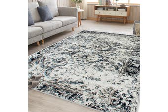 OliandOla Black Cream Art Vintage-Style Floor Area Traditional Soft Rug Carpet(230cm x 160cm)