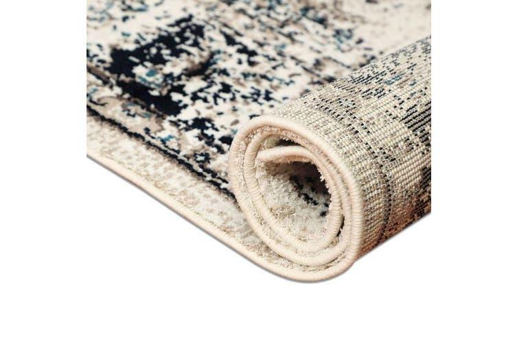 OliandOla Black Cream Art Vintage-Style Floor Area Traditional Soft Rug Carpet(90cm x 60cm, Door Mat)
