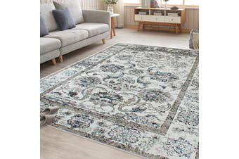OliandOla Blue Cream Evanna Vintage-Style Floor Area Traditional Soft Rug Carpet(120cm x 80cm, Door Mat)