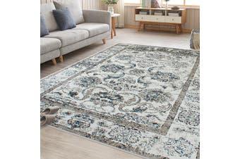 OliandOla Blue Cream Evanna Vintage-Style Floor Area Traditional Soft Rug Carpet(300cm x 200cm)