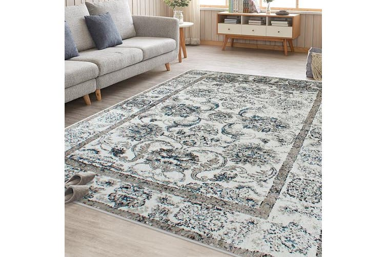 OliandOla Blue Cream Evanna Vintage-Style Floor Area Traditional Soft Rug Carpet(90cm x 60cm, Door Mat)