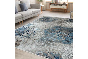 OliandOla Blue Grey Cream Vita Vintage-Style Floor Area Traditional Soft Rug Carpet(120cm x 80cm, Door Mat)