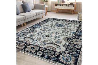 OliandOla Blue Cream Evanna Vintage-Style Floor Area Traditional Soft Rug Carpet