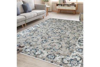 OliandOla Grey Cream Persian Style Floor Area Traditional Soft Rug Carpet(90cm x 60cm, Door Mat)