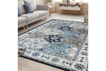 OliandOla Blue Grey Evanna Vintage-Style Floor Area Traditional Soft Rug Carpet(120cm x 80cm, Door Mat)