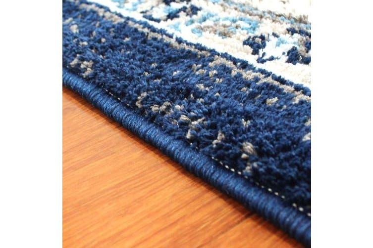 OliandOla Blue Grey Evanna Vintage-Style Floor Area Traditional Soft Rug Carpet(90cm x 60cm, Door Mat)