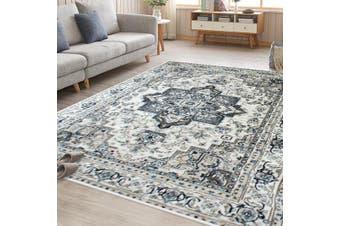 OliandOla Cream Blue Renna Vintage-Style Floor Area Traditional Soft Rug Carpet(120cm x 80cm, Door Mat)