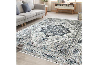 OliandOla Cream Blue Renna Vintage-Style Floor Area Traditional Soft Rug Carpet