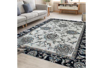 OliandOla Cream Blue Renna Vintage-Style #2 Floor Area Traditional Soft Rug Carpet(230cm x 160cm)