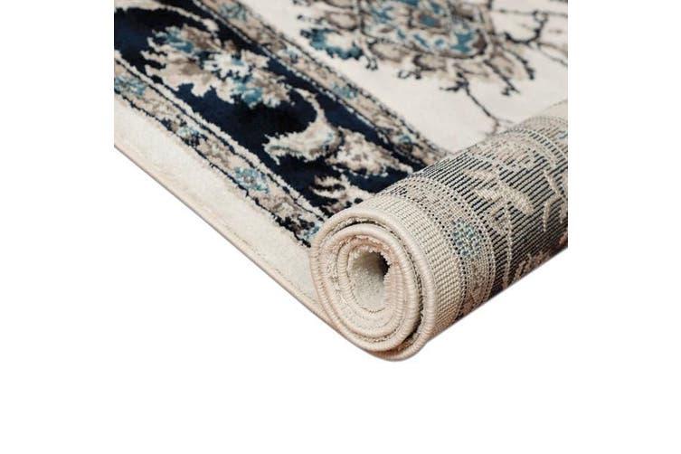 OliandOla Cream Blue Renna Vintage-Style #2 Floor Area Traditional Soft Rug Carpet(230cm x 160cm)