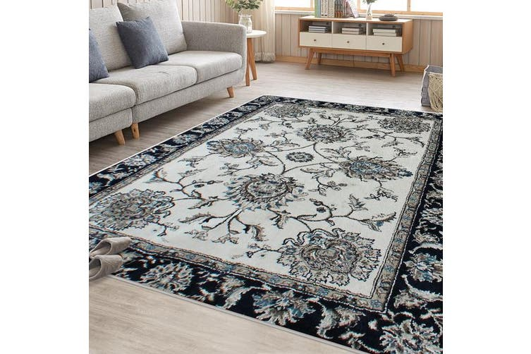 OliandOla Cream Blue Renna Vintage-Style #2 Floor Area Traditional Soft Rug Carpet(90cm x 60cm, Door Mat)