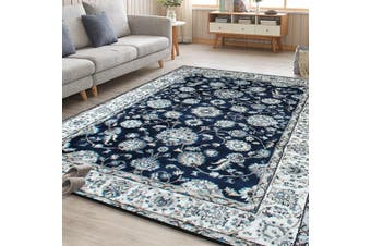 OliandOla Dark Blue Vita Vintage-Style Floor Area Traditional Soft Rug Carpet(120cm x 80cm, Door Mat)