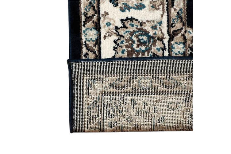 OliandOla Dark Blue Vita Vintage-Style Floor Area Traditional Soft Rug Carpet(230cm x 160cm)