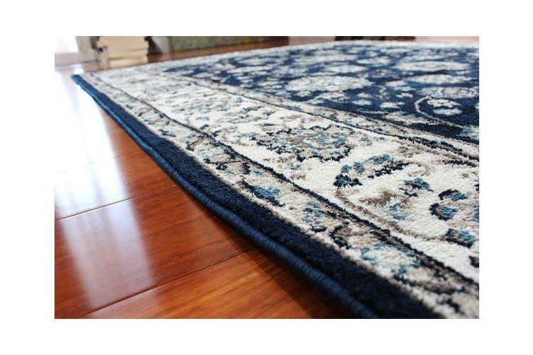 OliandOla Dark Blue Vita Vintage-Style Floor Area Traditional Soft Rug Carpet(90cm x 60cm, Door Mat)