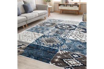 OliandOla Blue Cream Multi Vita Vintage-Style Floor Area Traditional Soft Rug Carpet(230cm x 160cm)