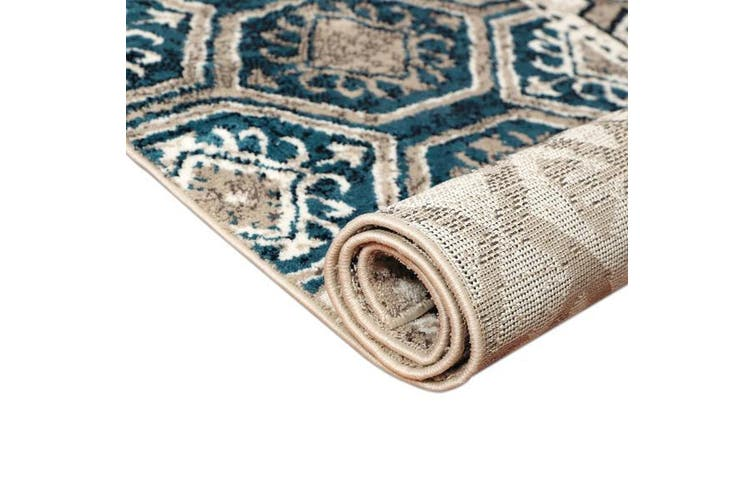 OliandOla Blue Cream Multi Vita Vintage-Style Floor Area Traditional Soft Rug Carpet(90cm x 60cm, Door Mat)