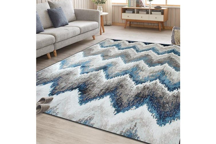 OliandOla Monochrome Blue Grey Cream Floor Area Traditional Soft Rug Carpet(90cm x 60cm, Door Mat)