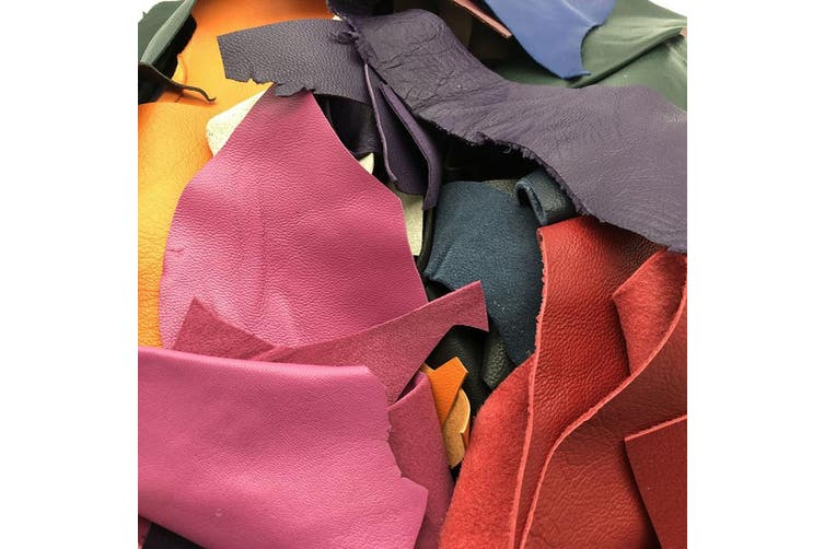 1kg of Assorted Leather Scraps Ideal For Remnants, Crafts, Jewellery Making, Embroidery, Sewing.