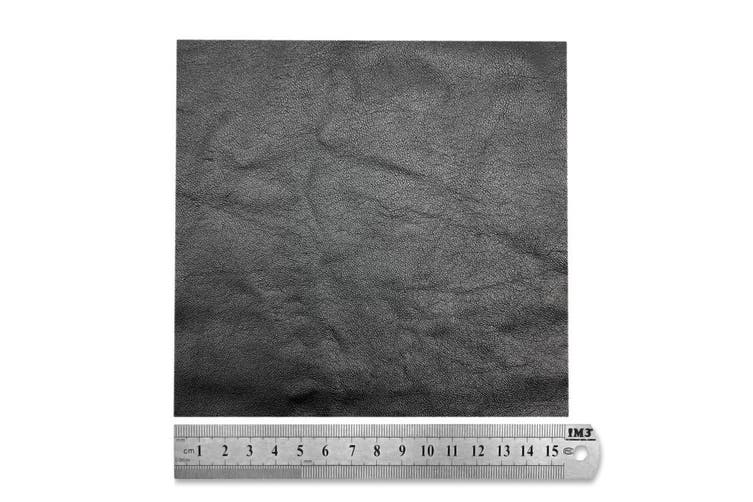 15cm x 15cm Black Square Lambskin Leather Piece, Remnant Skin, Crafts, Jewellery Making, Embroidery, Sewing