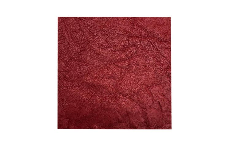 15cm x 15cm Red Square Lambskin Leather Piece, Remnant Skin, Crafts, Jewellery Making, Embroidery, Sewing