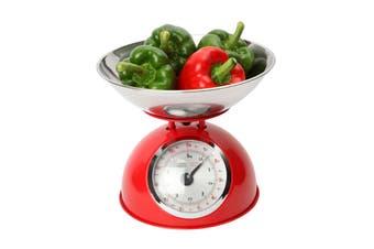 Dexam Retro Design Mechanical Kitchen Scales, Red