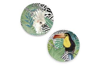 Epicurean Cockatoo and Toucan Side Plate Set of 2