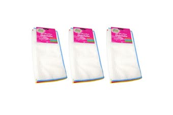 Microbrite Triple Pack of 4 Ribbed Dishcloths