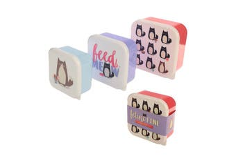Puckator Feline Fine Cat Set of 3 Lunch Boxes
