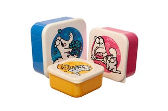 Simon's Cat Set of 3 Lunch Boxes, Blue Pink Yellow