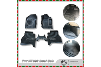 Premium Custom 3D Floor Mats for Nissan Navara NP300 Dual Cab 15-18 Model Car Mats 2nd Row WITH CUP HOLDER