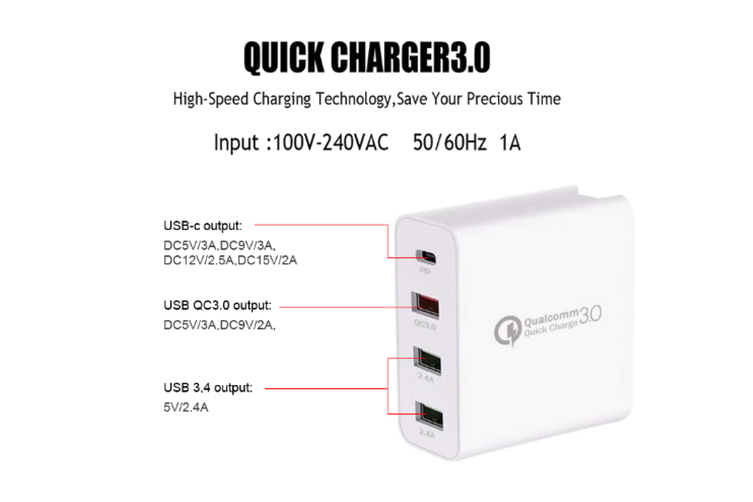 48W Qualcomm 3.0 QUICK CHARGE Multi Point Wall Charger