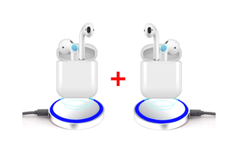 Gift Pack - 2 Sets of Wireless Mini Earphones with Wireless Charging Case PLUS 2 Mini Wireless Chargers Pads