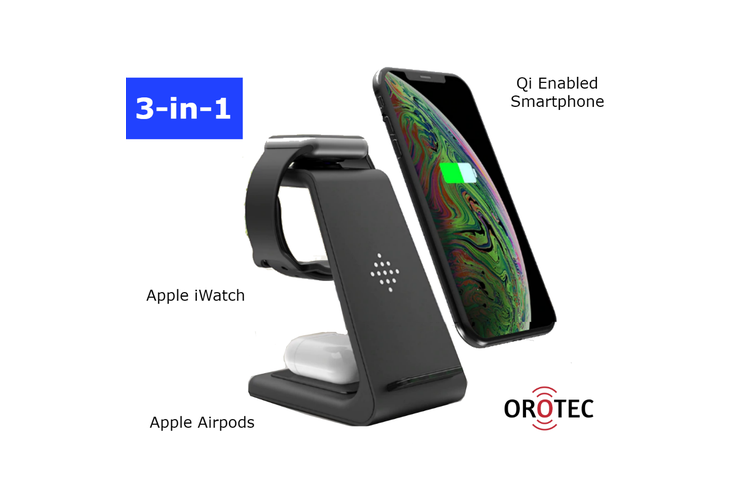 Orotec NextGen Apple 3-in-1 Wireless Charger (Apple Airpods/iWatch/Smartphone)