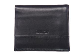 Morrissey Black Italian Leather Tri-Fold Mens Wallet (MO10347)-Black