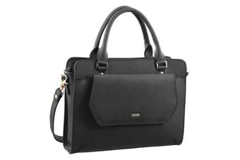 Morrissey Structured Leather Tote/ Cross Body Bag (MO2202)-Black