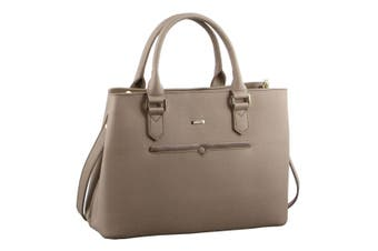 Morrissey Italian Structured Leather Tote Bag (MO2362)-Taupe