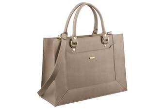 Morrissey Saffiano Italian Leather Tote Handbag (MO2510)-Taupe