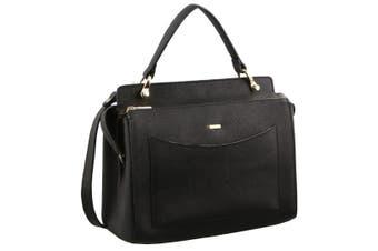 Morrissey Saffiano Italian Leather Tote Handbag (MO2512)-Black