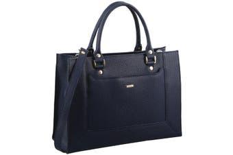 Morrissey Woven Embossed Italian Leather Tote Handbag (MO2525)-Navy