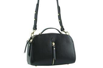 Morrissey Italian Structured Leather Cross Body Handbag (MO3024) -Black