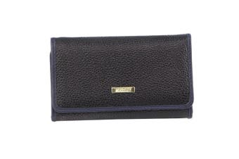 Morrissey Italian Structured Leather Flap Over Ladies Wallet (MO3033)-Black
